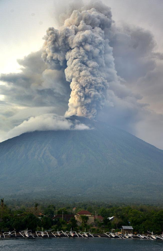 A general view shows Mount Agung erupting seen from Kubu sub-district in  Karangasem Regency