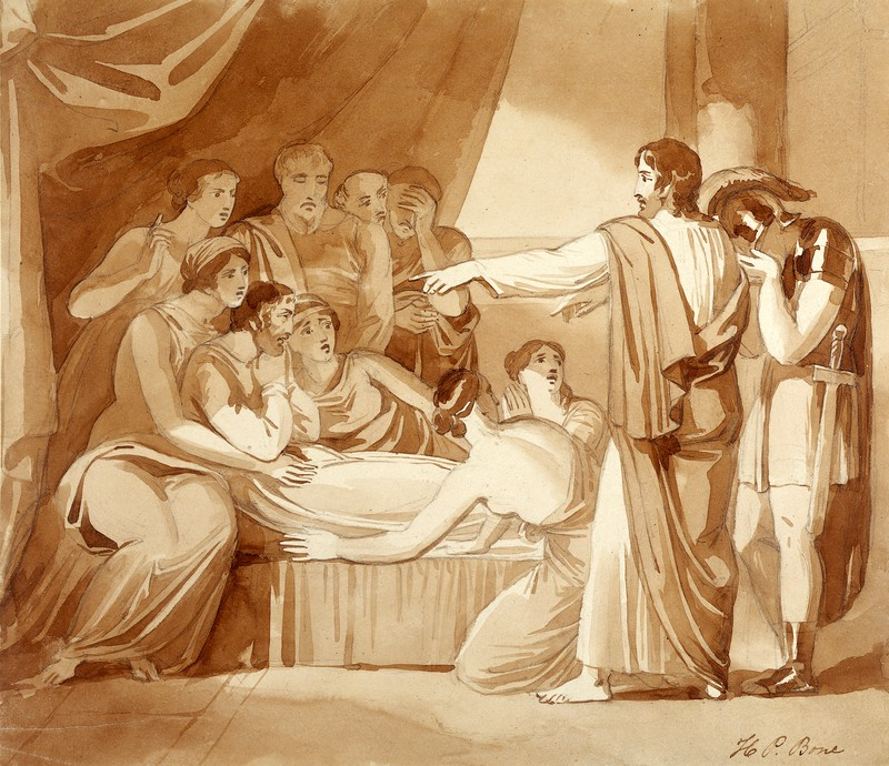 King Ahaziah lies sick after having fallen through an upper window: Elijah  foretells his death. Drawing by H.P. Bone.   Wellcome Collection