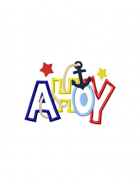 Ahoy Word Applique Embroidery Design - ahoy applique design - beach  appliqué design - nautical appliqué design - anchor