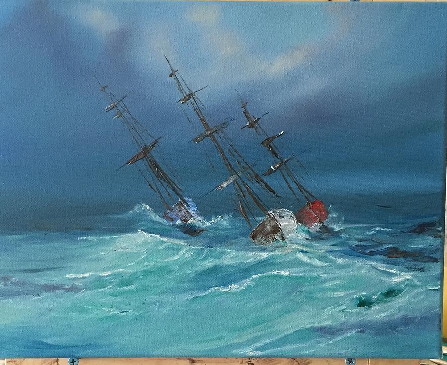 Stormy Seas Painting - Lying Ahull by Patti Lane