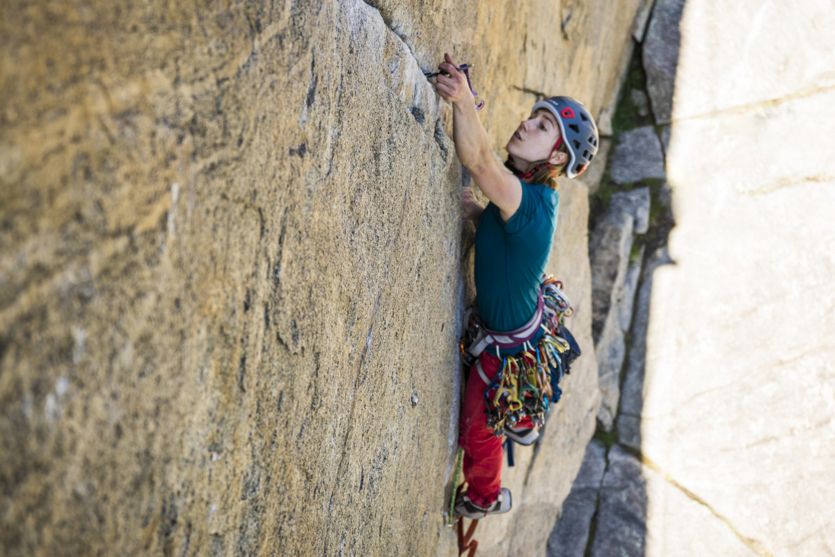 Aid climbing trad crack practice rock boulder canyon.