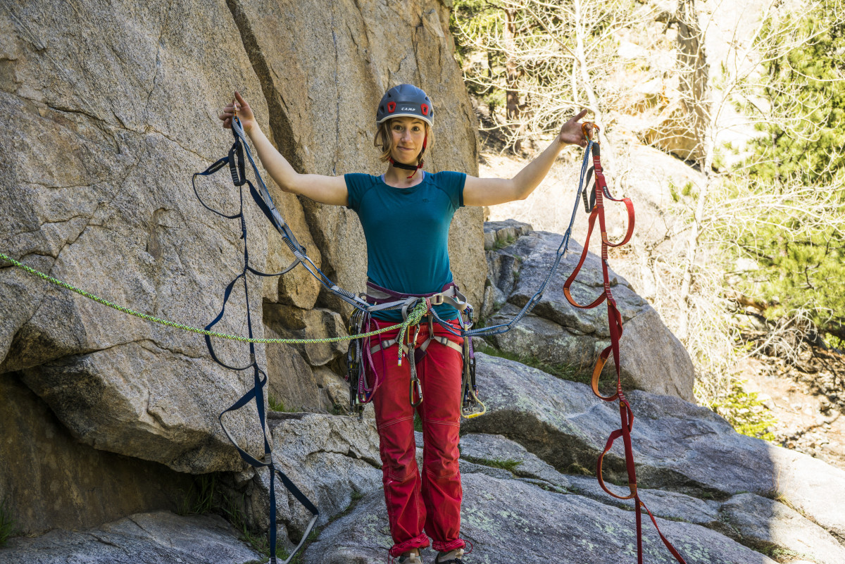 Aid Climbing daisy chain etrier boulder canyon rock trad