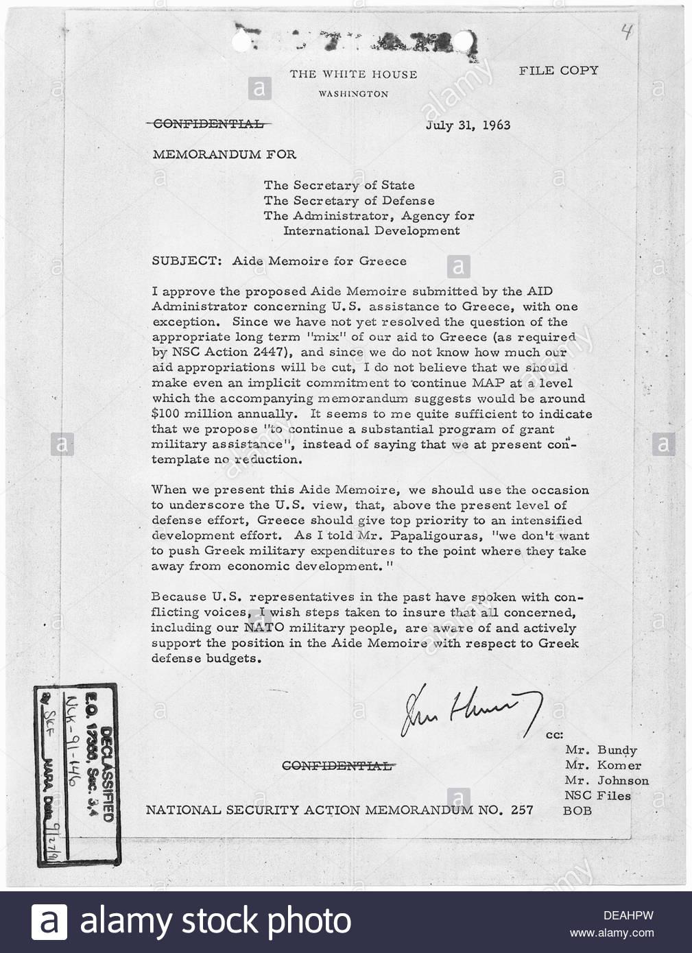 National Security Action Memorandum No. 257 Aide Memoire for Greece 193631  - Stock Image