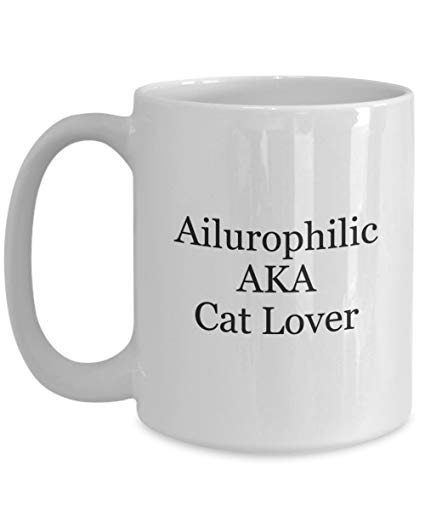 Cat lover coffee mug ailurophilic