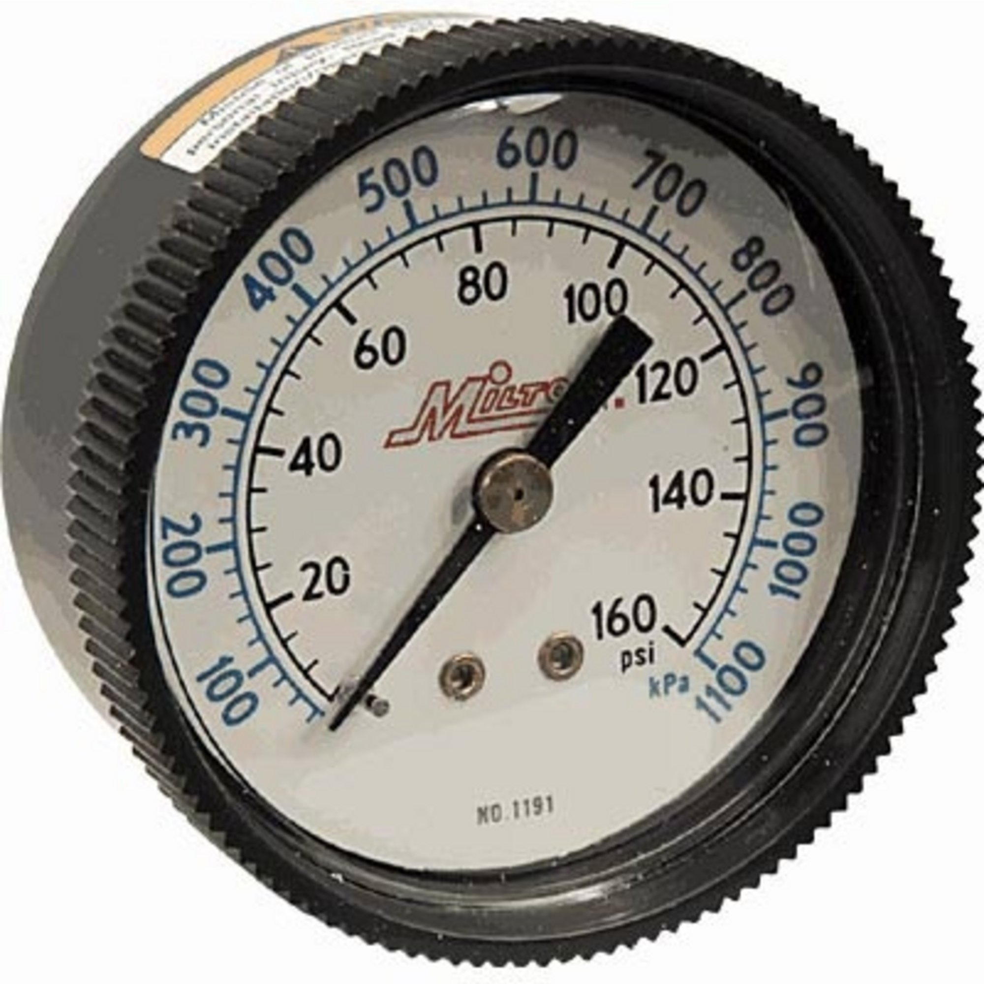 Milton Mini Air Gauge — 1/4in. NPT Inlet, 0–160 PSI