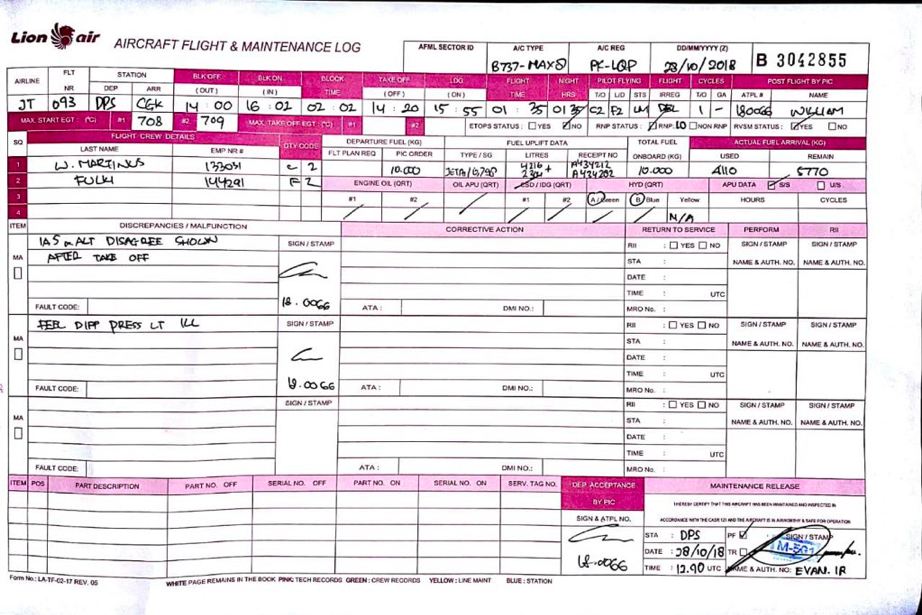 Now, a third version of the log has surfaced. This one includes all the  elements of the second, but the document was photographed displayed on  another
