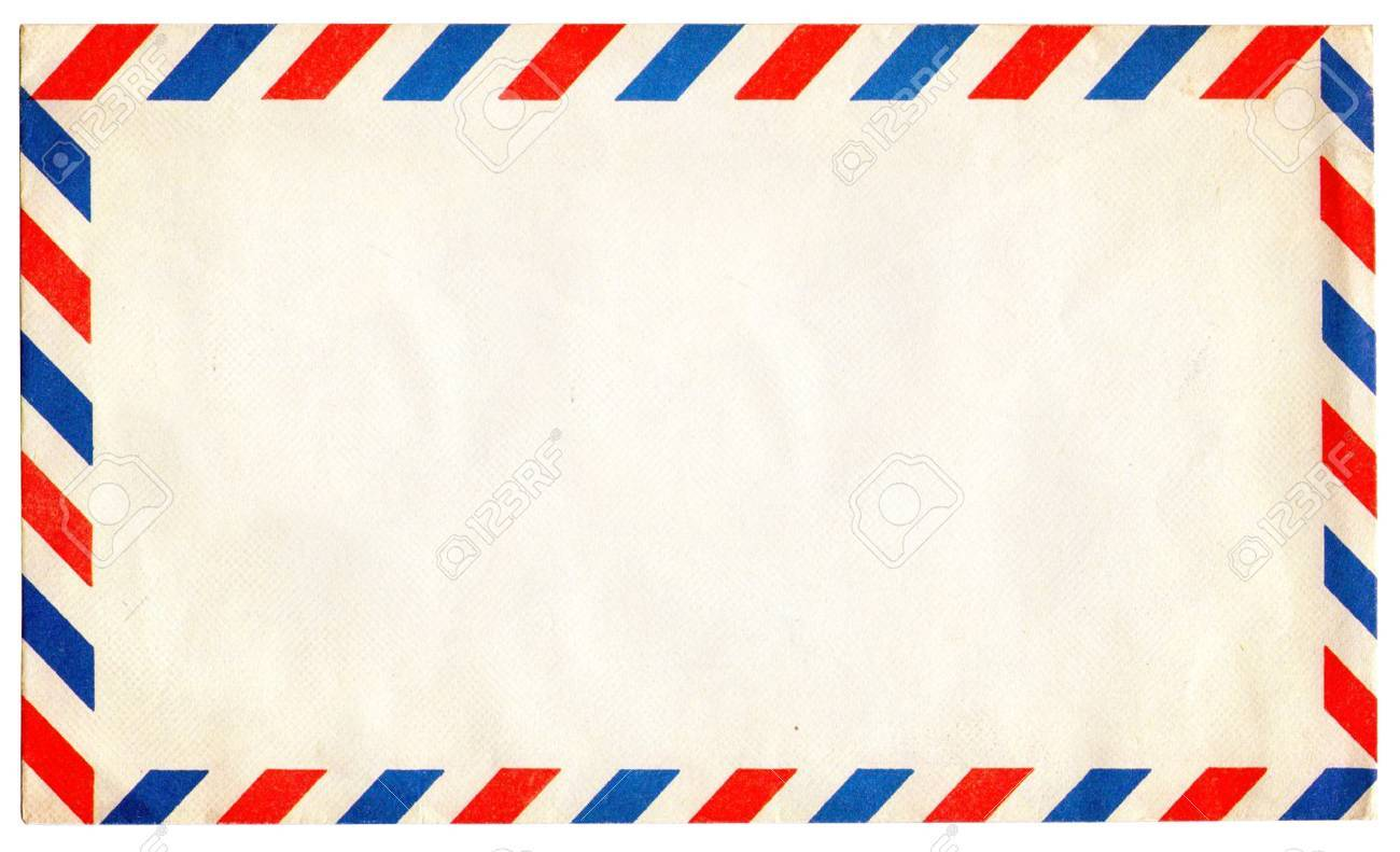 Empty vintage air mail envelope isolated on white Stock Photo - 17119944
