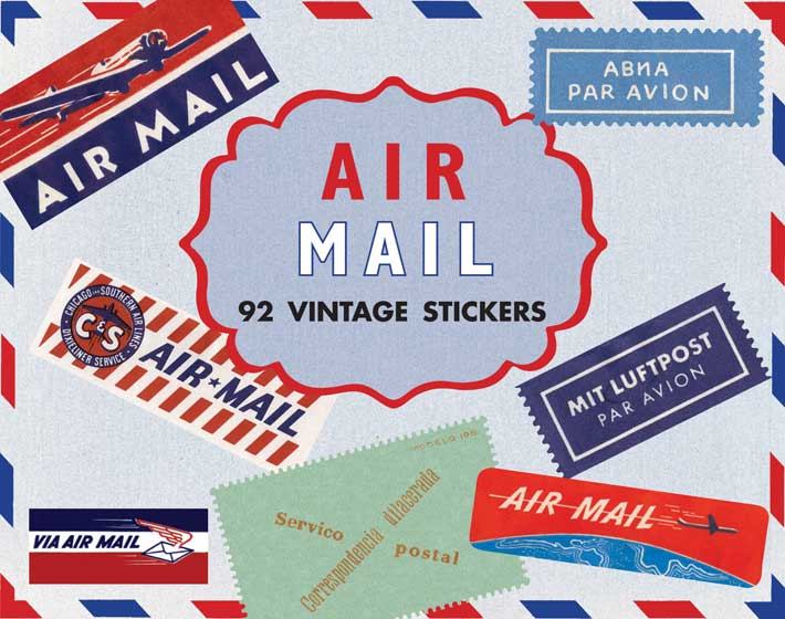 Airmail Travel Labels This box of 92 individual peel and stick labels  feature a wide variety
