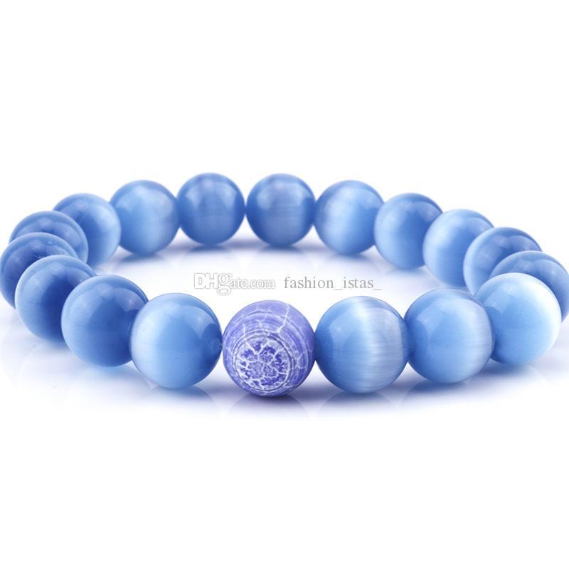 8mm Natural Blue Cat Eye Stone Bracelets air-slake for Women Girl  Bracelet Fashion Jewelry