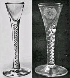 Two drawn trumpet mercury twist goblets The elongated air bubbles are  inserted after the bowl has