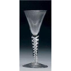ENGLISH AIR TWIST STEM WINE GLASS, the drawn trumpet bowl on a mercury twist  stem and conical foo.