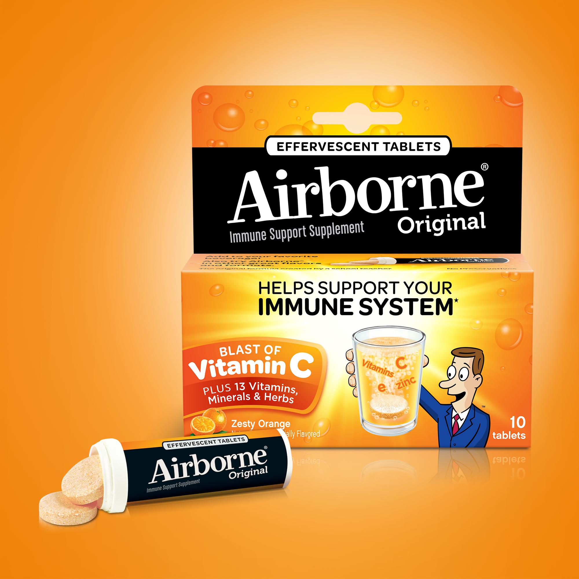 Airborne Vitamin C Tablets, Zesty Orange, 1000mg - 10 Effervescent Tablets  - Traveller Location