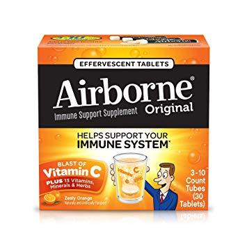 Vitamin C 1000mg - Airborne Zesty Orange Effervescent Tablets, 30 count -  Immune Support Supplement