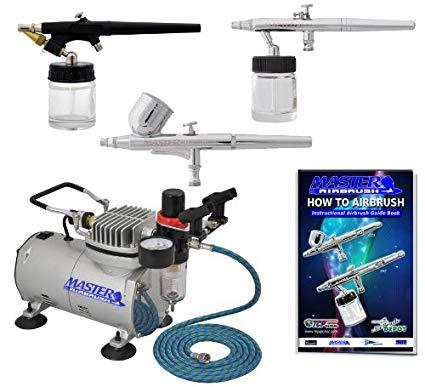 Master Airbrush 3 Airbrush Professional Multi-Purpose Airbrushing System  Kit - G22, S68,