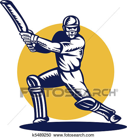 Stock Illustration - cricket sports batsman batting front . Fotosearch -  Search Clipart, Illustration Posters