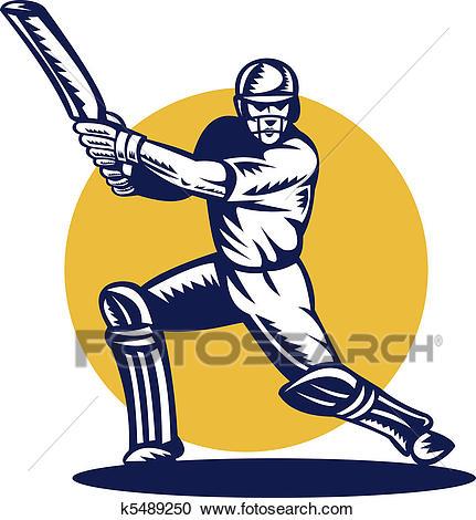 Stock Illustration - cricket sports batsman batting front . Fotosearch -  Search Clipart, Illustration Posters