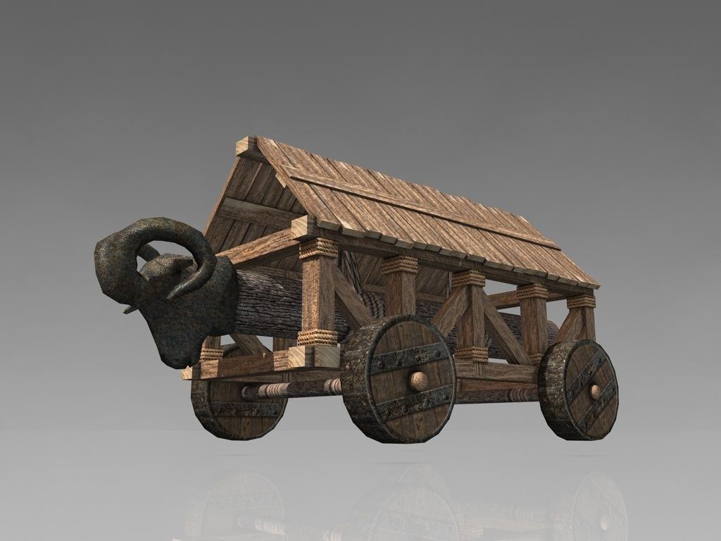 medieval battering ram 3d model low-poly max obj mtl 3ds fbx c4d ma mb