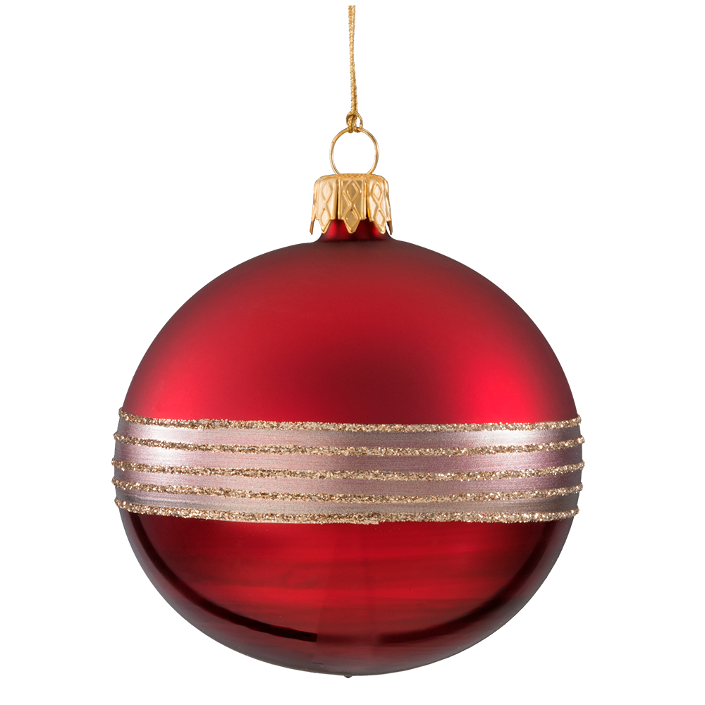Christmas bauble dark red, matt/lacquered with glitter tape