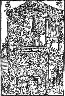 A Renaissance woodcut depicting a bawdy-house with theatre above it.