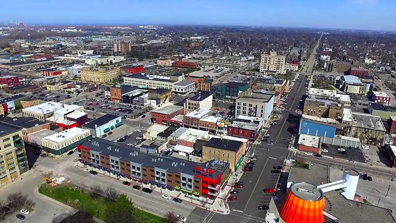 Downtown Bay City Drone Video