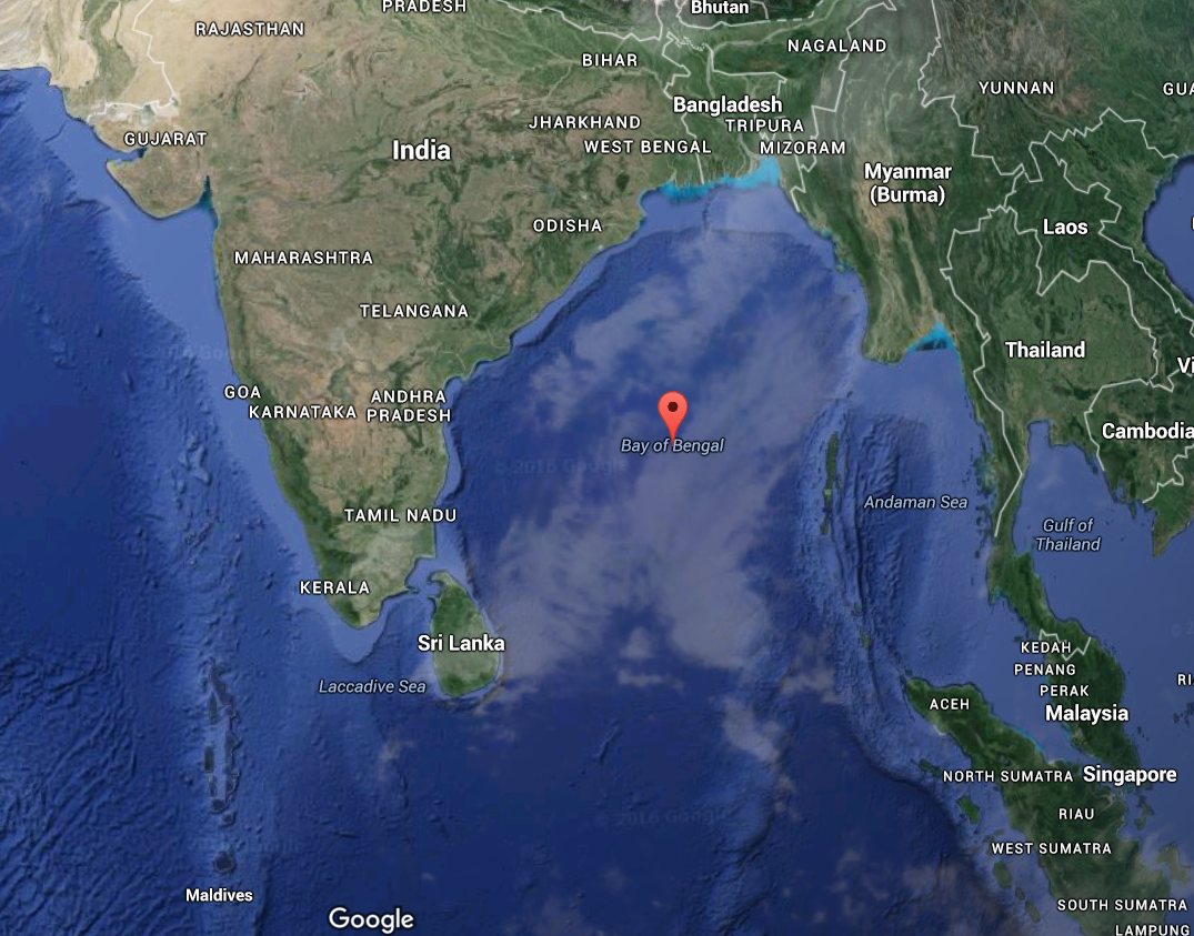 The Bay of Bengal, the largest bay in the world,[3] forms the northeastern  part of the Indian Ocean. Roughly triangular, it is bordered mostly by  India and