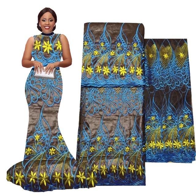 2017New llega popular francés Bazin riche bordado verde del cordón para los  vestidos hermosos africanos B170414