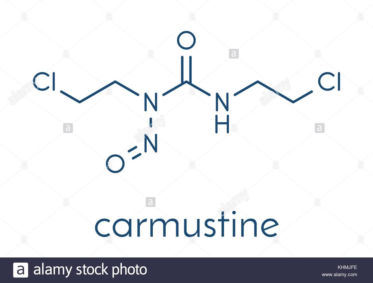 La carmustina (BCNU), medicamentos de quimioterapia del cáncer molécula  fórmula esquelética. Imagen