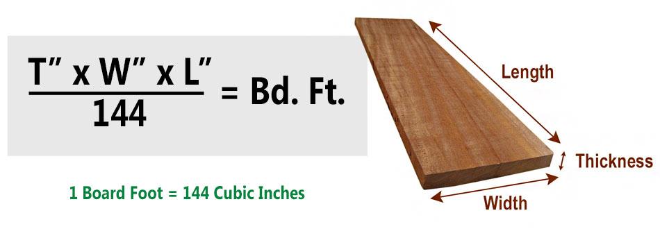 board feet formula board footage