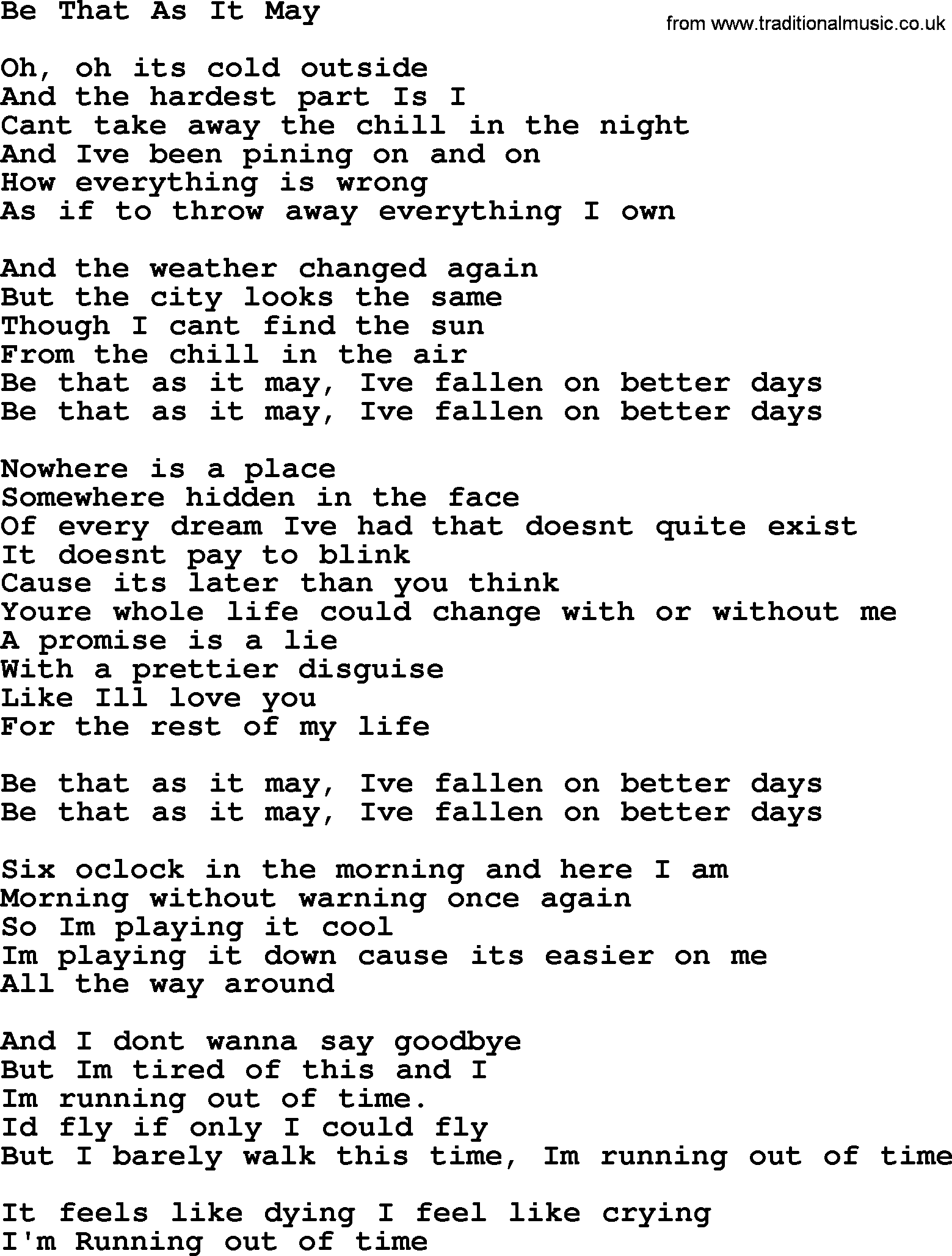 Willie Nelson song: Be That As It May lyrics