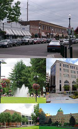 From top: Downtown Beaverton along Broadway, Beaverton City Fountain Park,  City Hall,