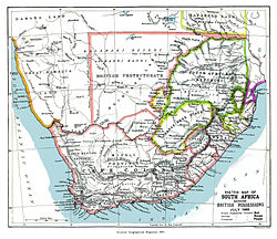 An 1885 map showing the Bechuanaland Protectorate prior to the creation of  the crown colony of