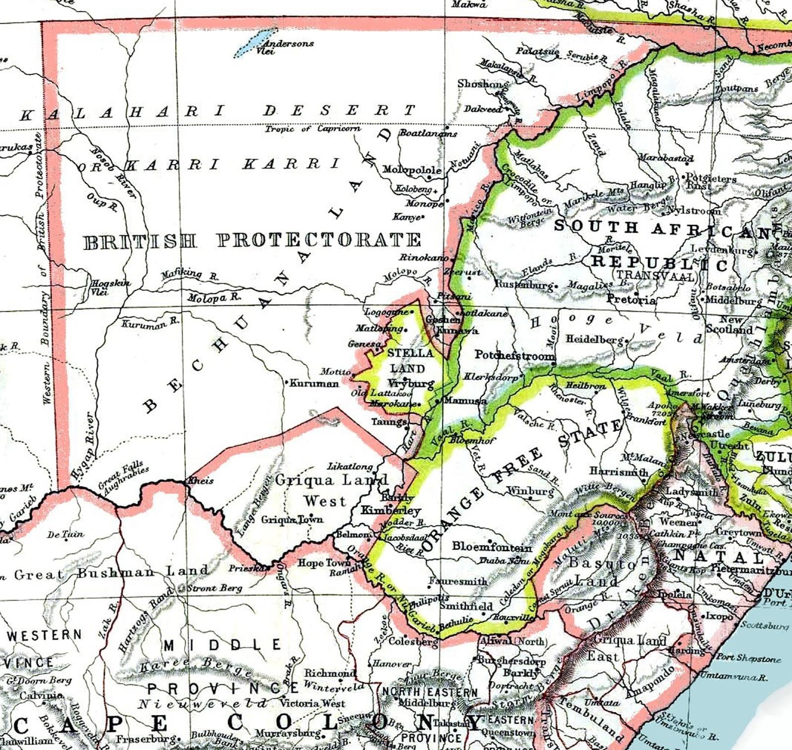1885 Map - Bechuanaland Protectorate & Stellaland