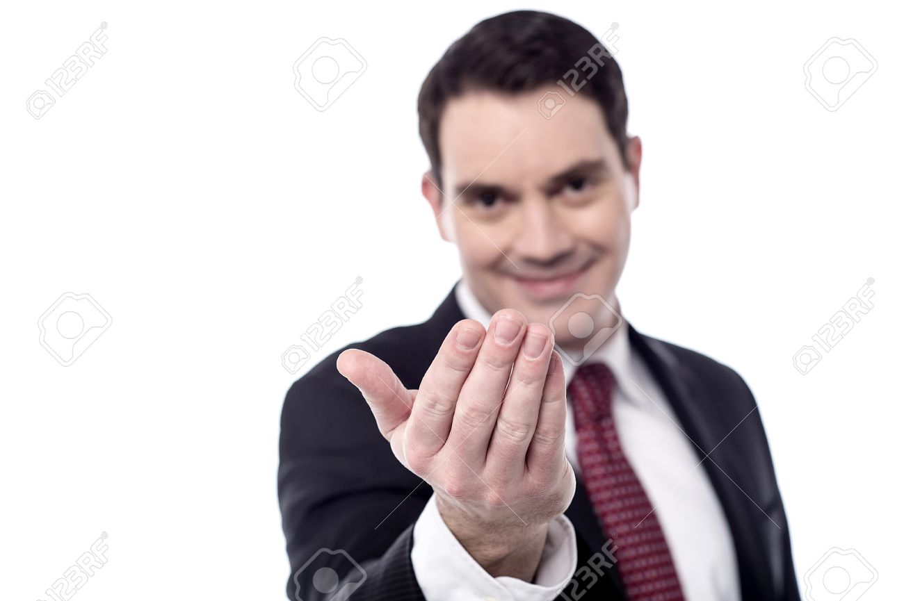 Smiling businessman hand beckoning someone Stock Photo - 36635654