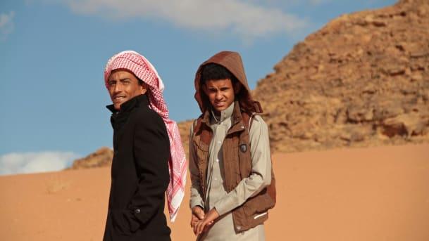 Jacir Eid Al-Hwietat, right, and his cousin, Hussein Salameh al-