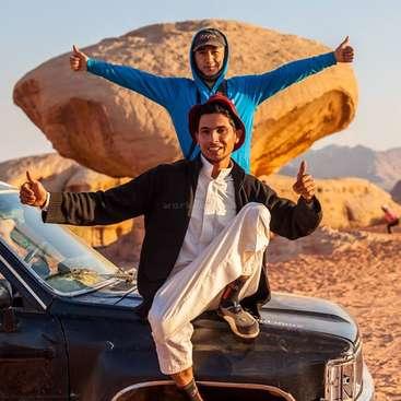 Volunteer with a Bedouin family in the Jordanian desert. Wadi Rum Bedouin  life experience .
