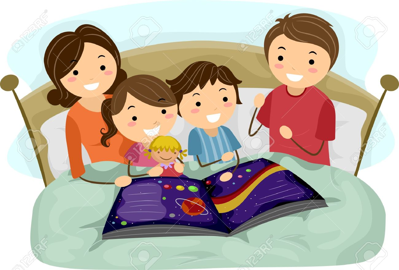 Illustration - Illustration of Kids Listening to a Bedtime Story