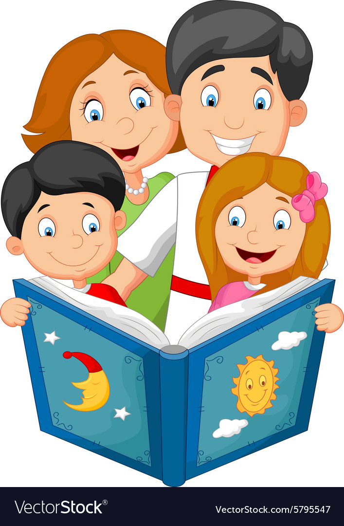 Cartoon family read a bedtime story vector image