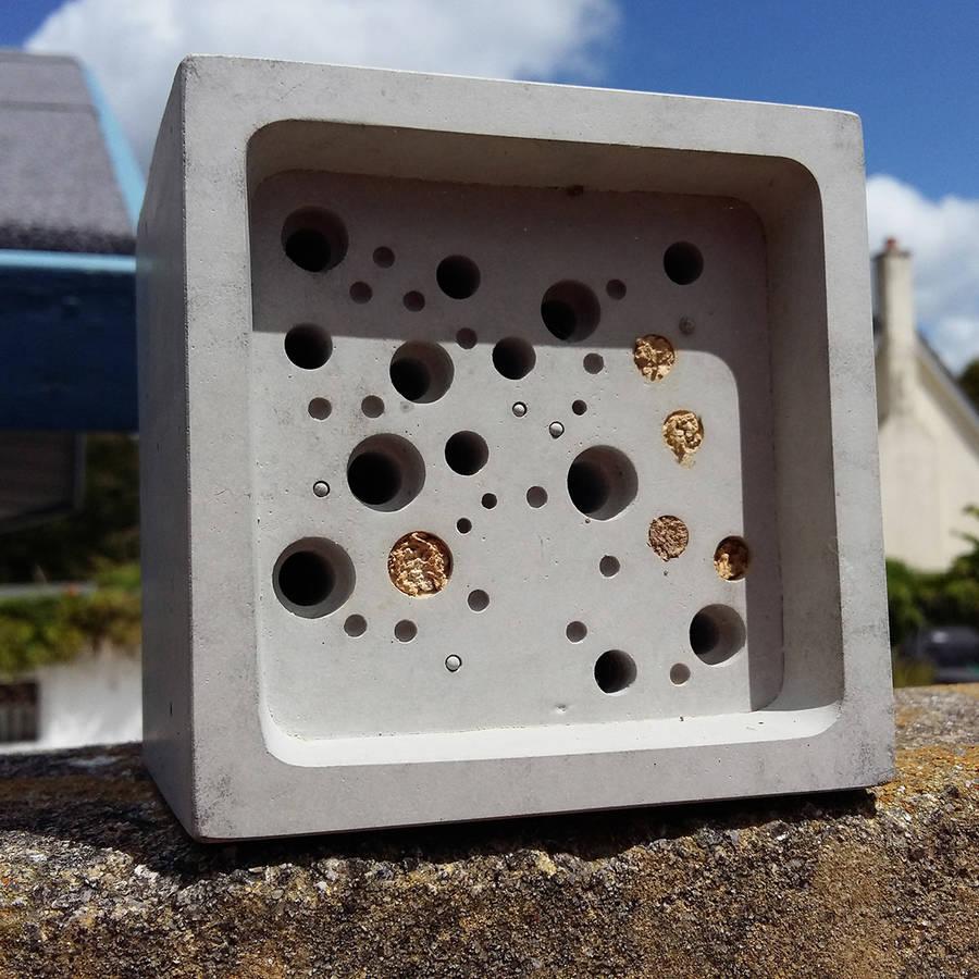 Concrete Bee Hotel Bee Block Cube
