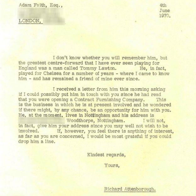 Adam Faith letter