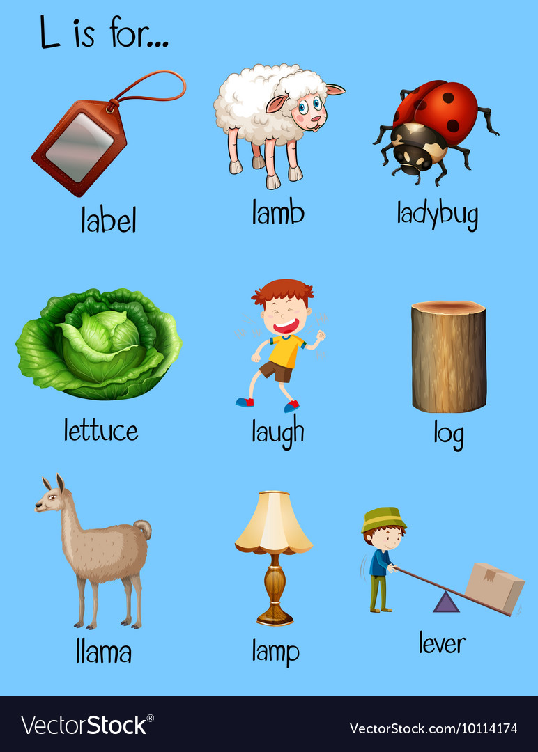 Different words begin with letter L vector image