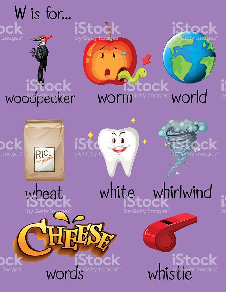 Many words begin with letter W ilustración de many words begin with letter  w y más banco
