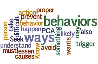 A collage of words that have to do with Understanding Behaviors