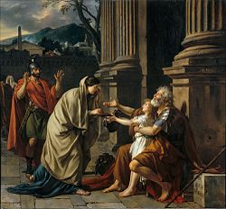 Belisarius Begging for Alms, as depicted in popular legend, in the painting  by Jacques-Louis David (1781)