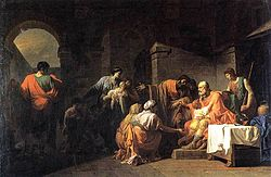 The outcast Belisarius receiving hospitality from a Peasant by  Jean-François Pierre Peyron (1779)