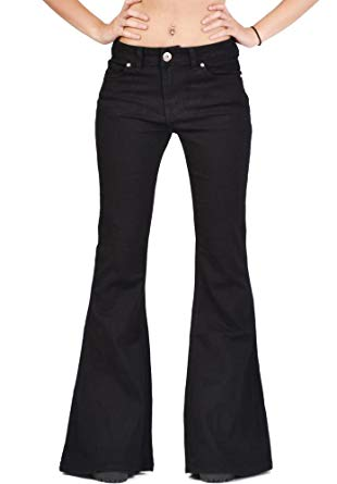 Glamour Outfitters 60s 70s Flares Bell-Bottom Wide Flared Jeans - Black (8)