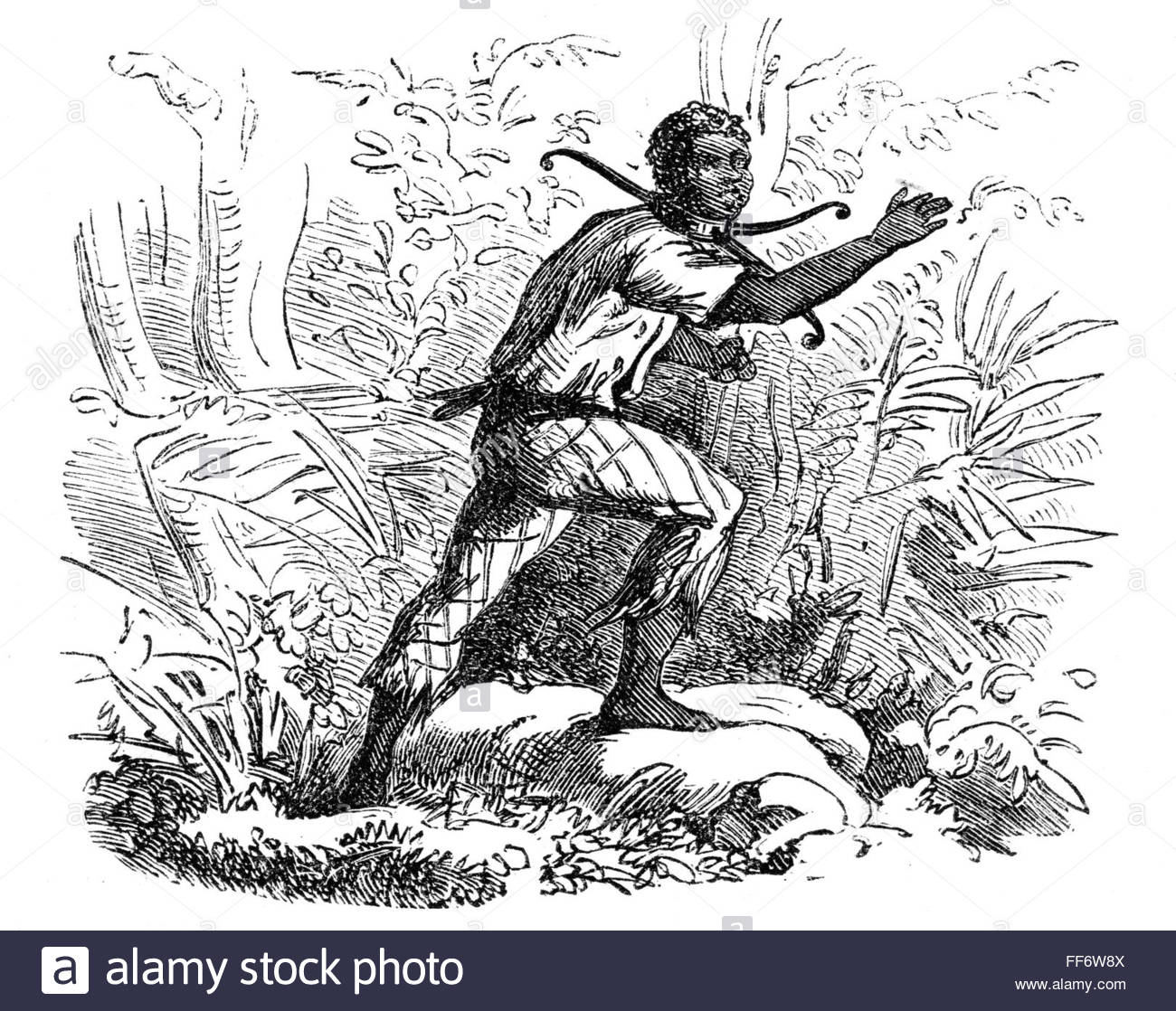 /nA runaway slave wearing a belled slave collar. Wood engraving, 19th  century.