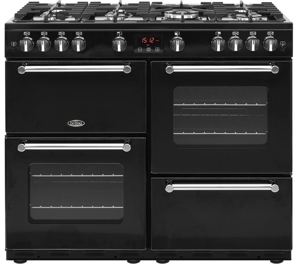 BELLING Kensington 100G Gas Range Cooker - Black & Chrome
