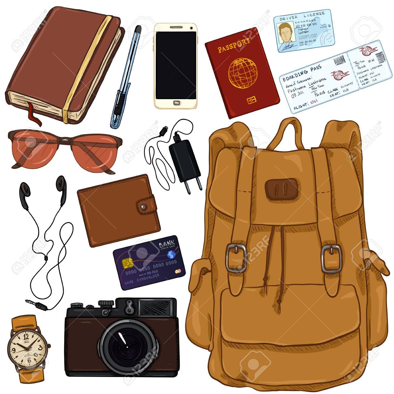Vector - Vector Cartoon Color Travel Set. Personal Belongings for Journey