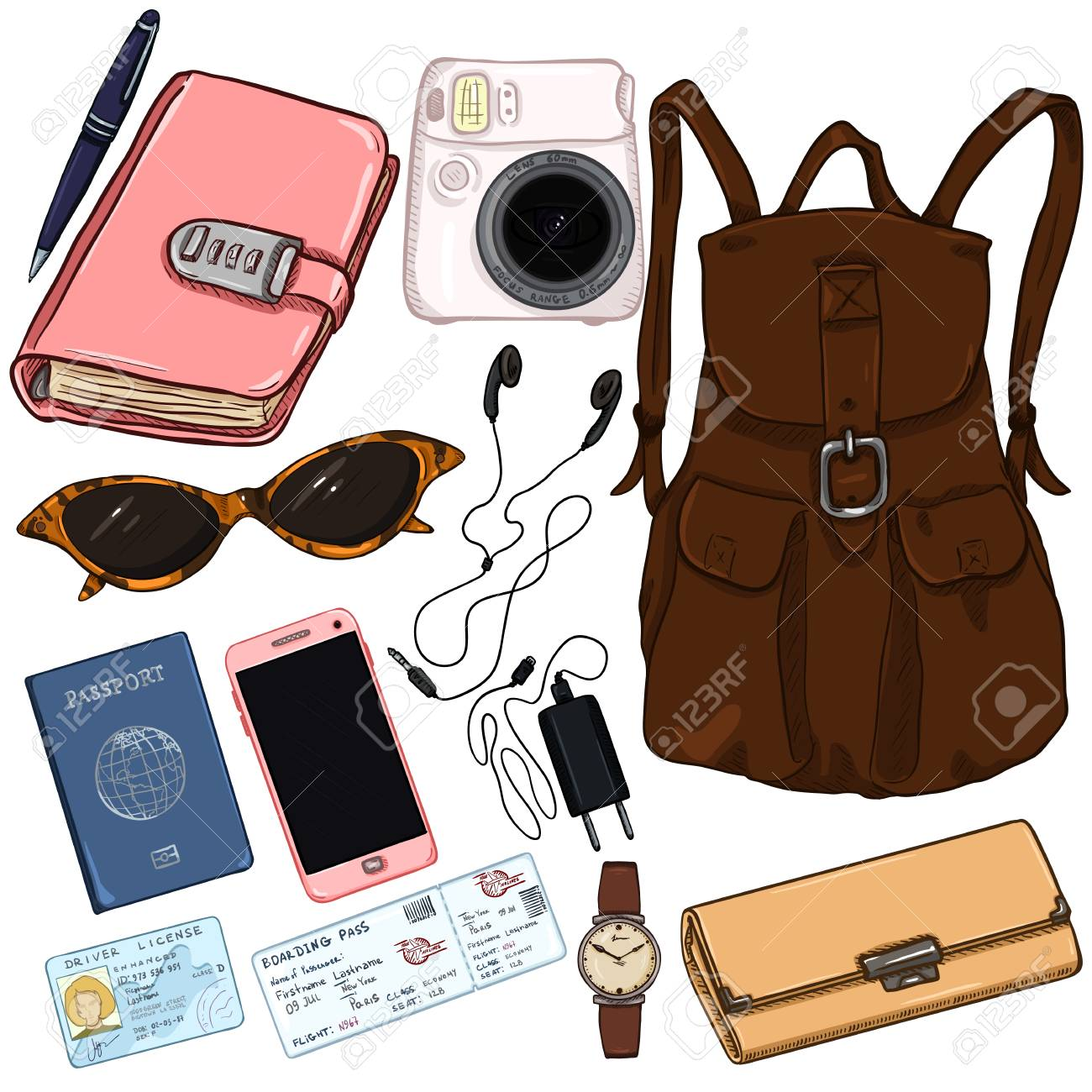 Vector - Vector cartoon color travel set. Personal belongings for journey  illustration.