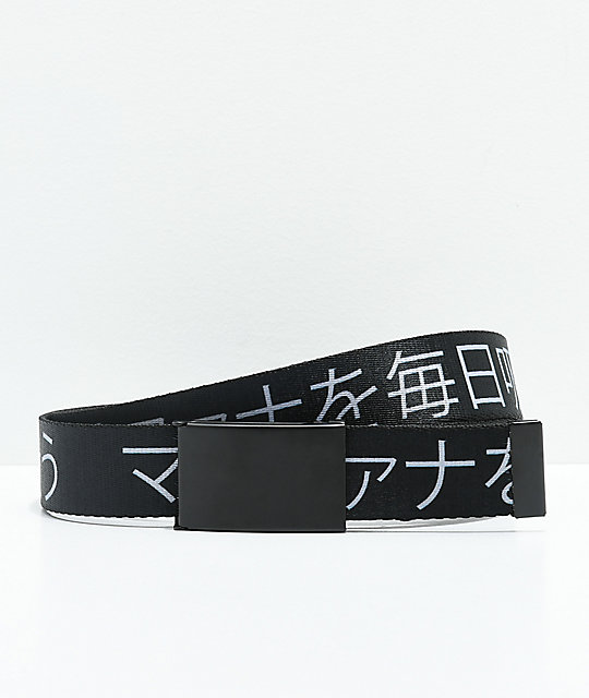 Buckle Down Kanji Black Web Belt